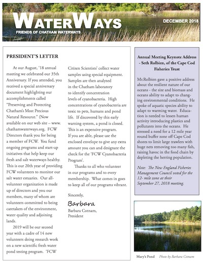 Friends of Chatham Waterways Newsletter 2018 Thumbnail